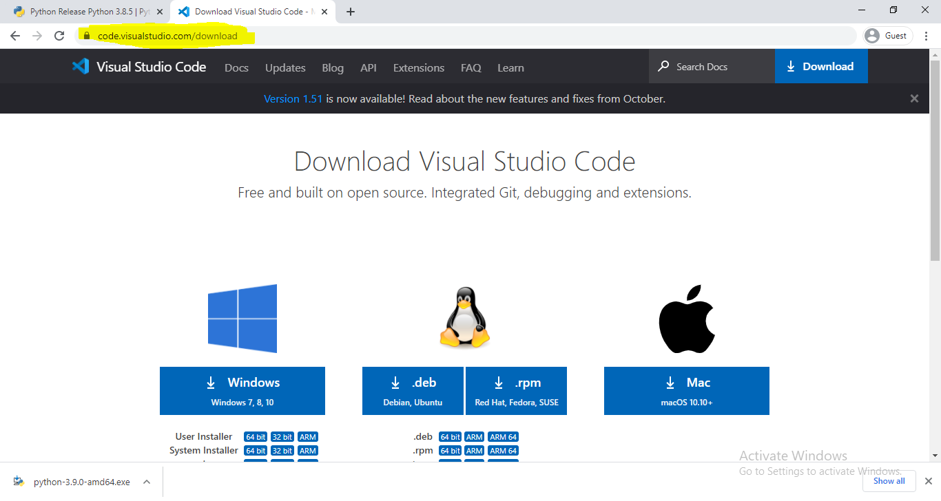 Coding in Python with VS Code